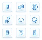 Mobile phone web icons set 2, square ice buttons