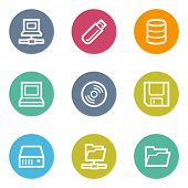 Drives and storage web icons, color circle buttons