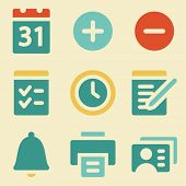 Organizer web icons retro color series