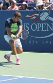 Grand Slam champion and professional tennis player Juan Martin Del Potro practices for US Open 2013