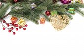 foto of candy cane border  - Christmas border of baubles - JPG
