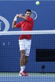 Professional tennis player Novak Djokovic during  fourth round match at US Open 2013