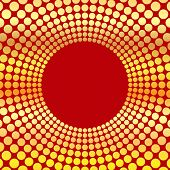 Abstract Background Of Circles.circumference Of Gold Color On A Red Background.vector