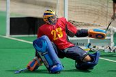 BLOEMFONTEIN, SOUTH AFRICA - MARCH 14: A goalkeeper in action during an international men's field hockey game between Germany and South Africa March 14, 2009 in Bloemfontein. Germany won 4-3.