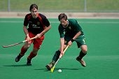 BLOEMFONTEIN, SOUTH AFRICA - MARCH 14: Players in action during an international men's field hockey game between Germany and South Africa March 14, 2009 in Bloemfontein. Germany won 4-3.
