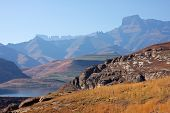 View of the high peaks of the Drakensberg mountains, South Africa