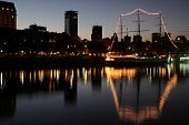 View of the old harbor area (Puerto Madero) by night, Buenos Aires, Argentina
