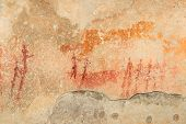 Bushmen (san) rock painting depicting human figures, South Africa
