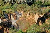 View of the Upupa falls in the Kunene river that forms the border between Namibia and Angola, southern Africa
