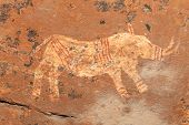 Bushmen (san) rock painting depicting a rhinoceros, Drakensberg mountains, South Africa