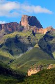 Sentinal peak in the amphitheater of the Drakensberg mountains, Royal Natal National Park, South Africa