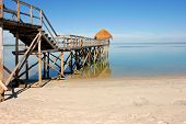 Wooden pier on a tropical beach Mozambique, southern Africa