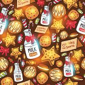 Milk cookies for Santa Claus seamless pattern