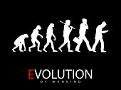 stock photo of ape-man  - Vector illustration of evolution from monkey to social media addict - JPG