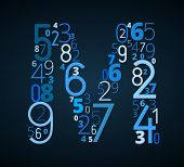 Letter M, vector font from numbers