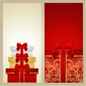 Gift certificate, Gift card, Coupon template with red gift box, bow (ribbon)