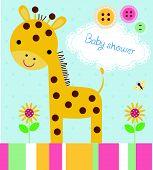 Cute baby shower birthday invitation card with giraffe