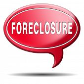 foreclosure auction notice mortgage house loan paying money costs back to bank to avoid foreclosures and repossession problems icon sign or banner