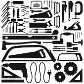 stock photo of hammer drill  - Vector set collection of hand tool silhouettes - JPG
