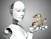 stock photo of woman dragon  - Female android robot holding a baby dragon with a gradient background - JPG