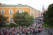 MOSCOW - JUN 23: The crowd of high school graduates near the Senate building and Kremlin on June 23,