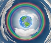 Rainbow encircled earth