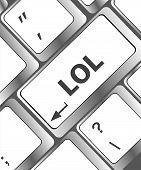 stock photo of lol  - keys saying lol on black keyboard keypad - JPG