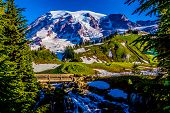 Stream and Bridge on Snow-Capped Mount Rainier, Washington