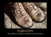 "Old boots and the word ""EMPATHY"""