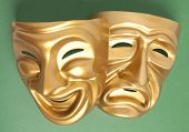 foto of comedy  - Comedy and Tragedy theatrical mask on a green background  - JPG