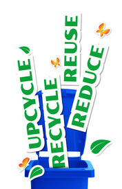 pic of waste reduction  - Environmental concept bin with paper stickers words Reduce Reuse Upcycle Recycle - JPG