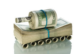 pic of panzer  - Tank made of money on the white - JPG