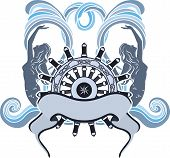 Marine design, emblem, wheel and mermaid on waves