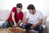 Men Friends Eating Pizza