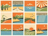 Nature Landscape Icons.vector Set Of Symbols
