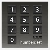 Set Of Numbers On Black
