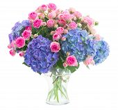bouquet  fresh pink roses and blue hortensia flowers