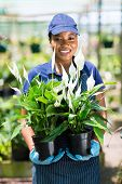 portrait of female african florist holding to potted plants