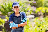 pretty female garden center worker portrait