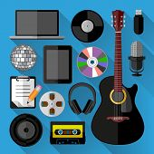 Music icons bundle. Flat design