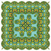 Squared Background - Ornamental Floral Pattern. Design For Bandanna, Carpet, Shawl, Pillow Or Cushio