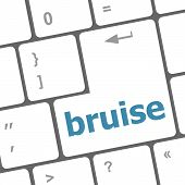 image of bruises  - button with bruise word on computer keyboard keys - JPG