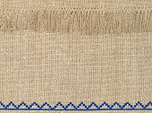 Natural Linen Texture Pattern With Fringe.
