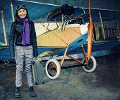 Flying, aviator, plane, travel - girl ready for travel around the world