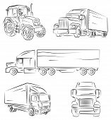 stock photo of tractor trailer  - Beautifull vectio illustration of Lorry and truck - JPG