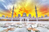 Sheikh Zayed Grand Mosque in Abu Dhabi at sunset, UAE