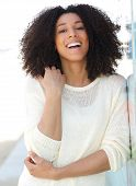 African American Woman Smiling Outdoors