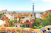 Ceramic Mosaic Park Guell In Barcelona, Spain