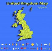 United Kingdom Great Britain England map infographic political map blue green card paper 3D vector i