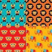Seamless kids lion giraffe elephant and monkey circus illustration background set pattern in vector